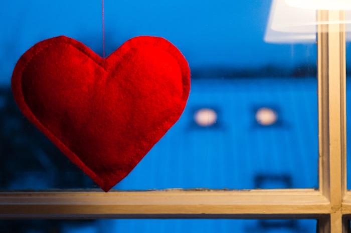 Hjerte i vinduet